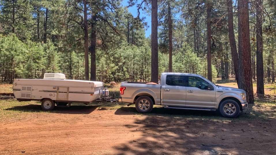 pop up camper behind truck