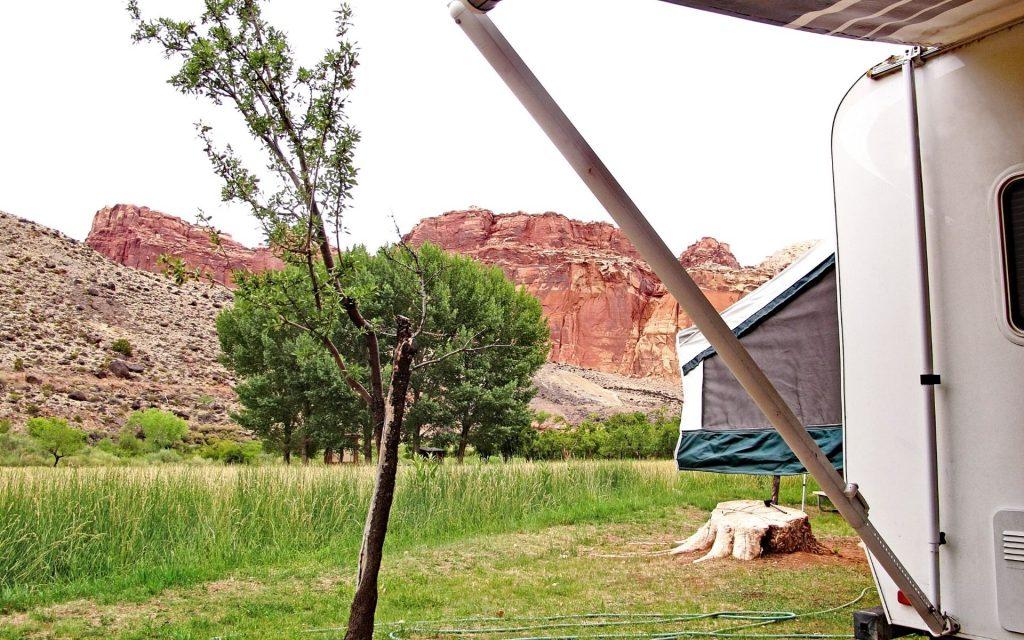 hybrid camper in red rock