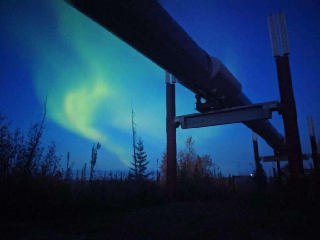 northern lights behind alaska pipeline