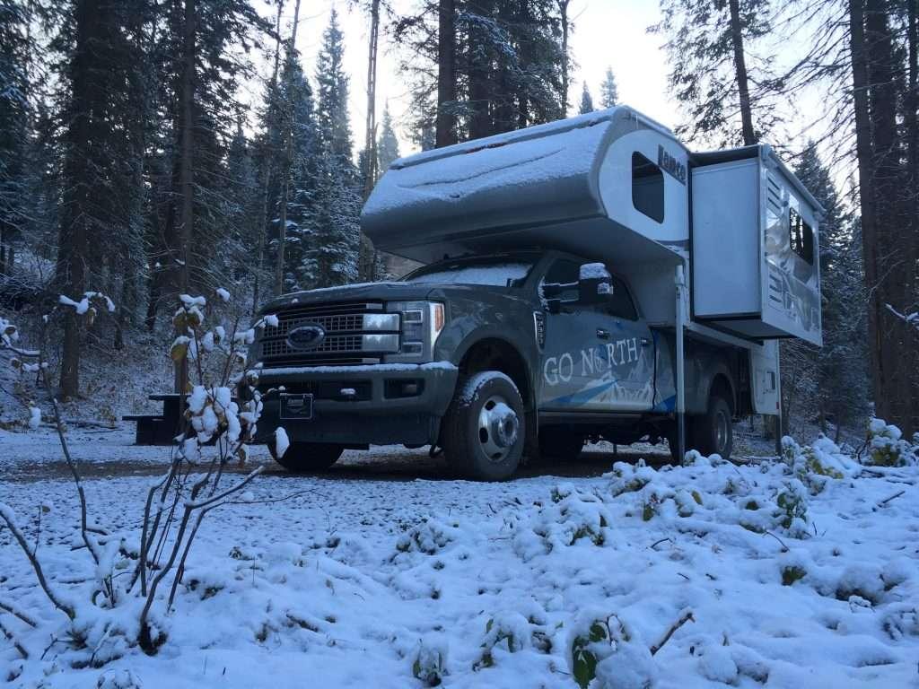 Go North Truck Camper in Snow