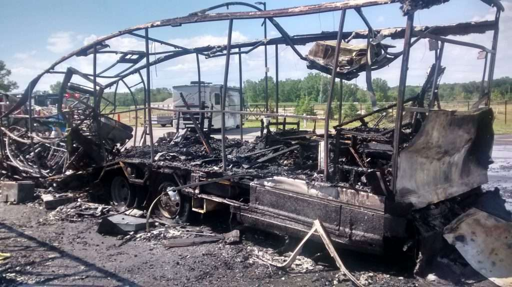 Destroyed RV due to propane fire.