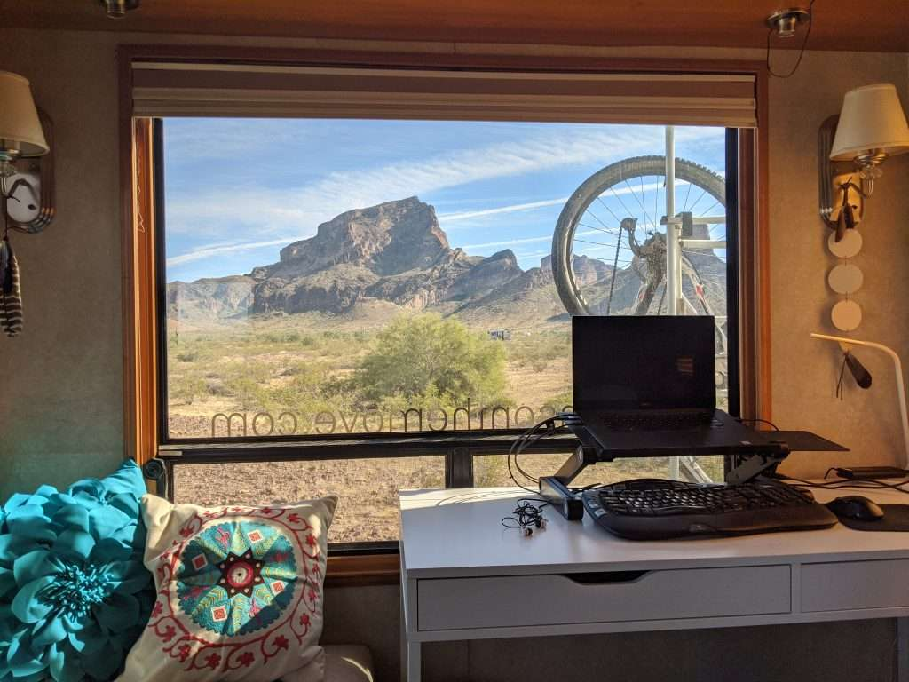 RV window with view of a desert