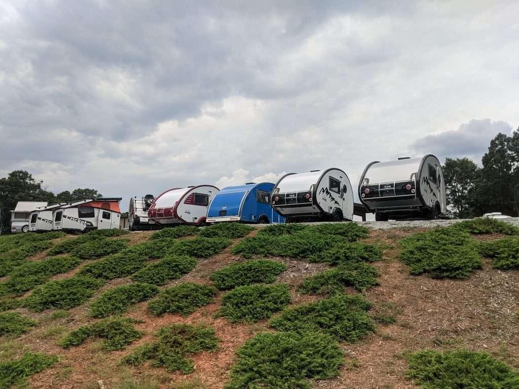 Row of Teardrop Campers