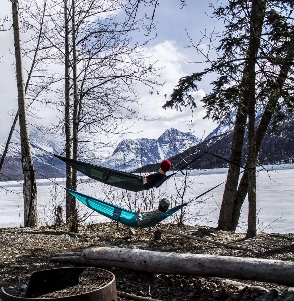 Seward alaska hammock camping in winter