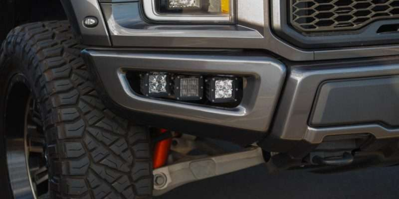 close up of lifted truck suspension