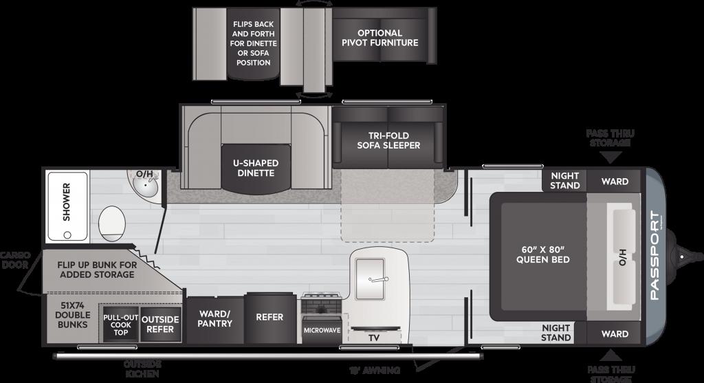 Floor plan of Keystone passport travel trailer model.