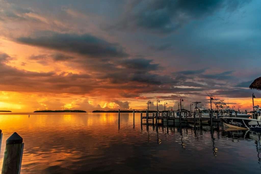 Sunset by boat dock in Islamorada.