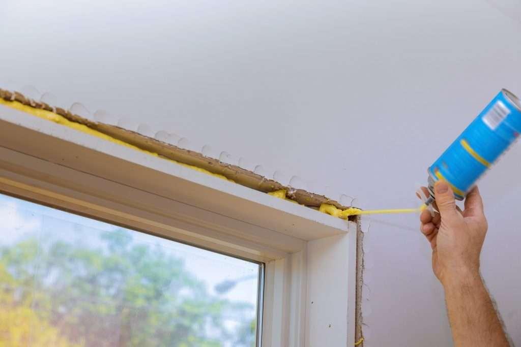 RV Insulation spraying around windows, doors and roofs.