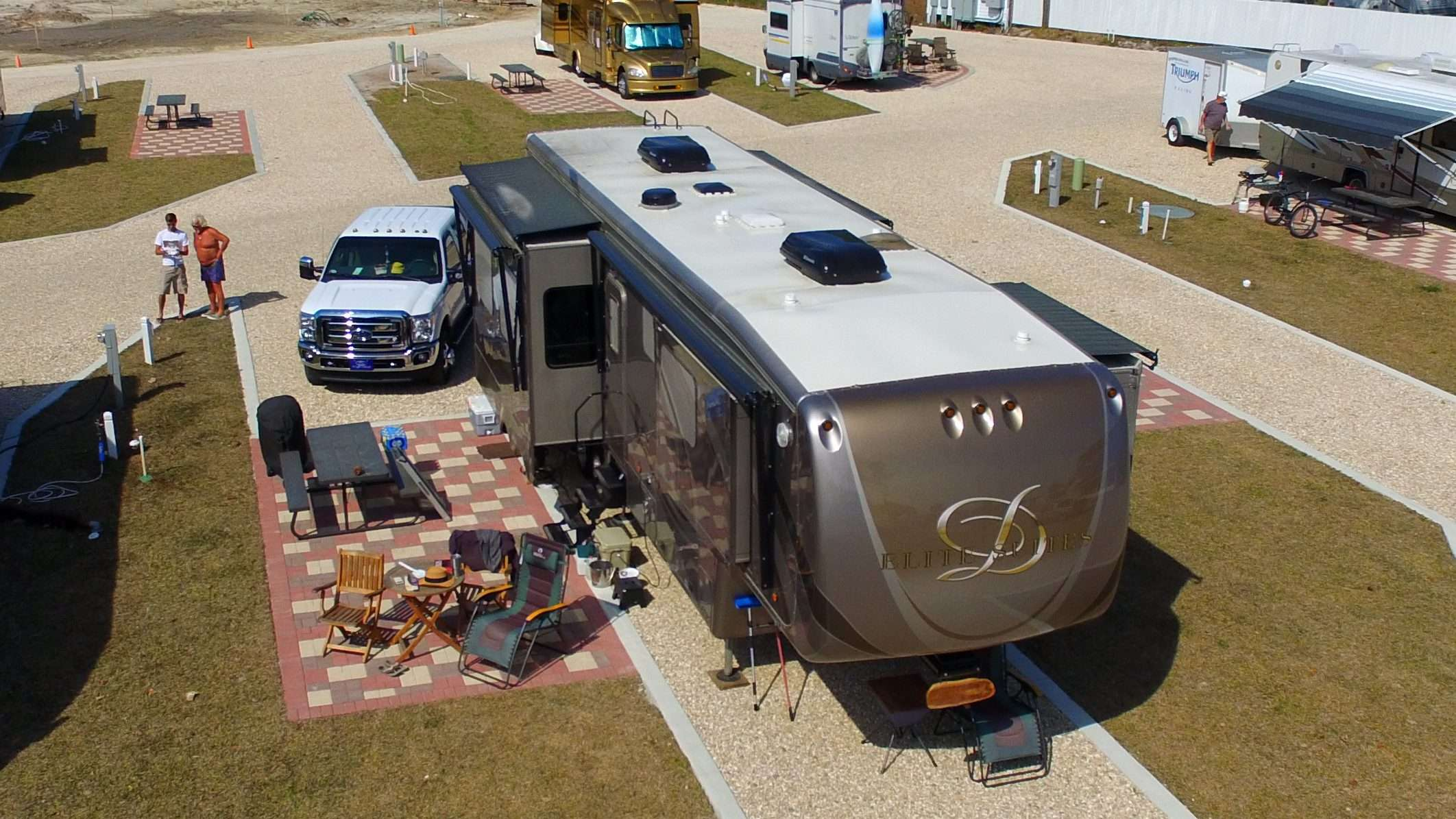 Aerial image of RV parked. Heat pumps installed on the roof of the RV.