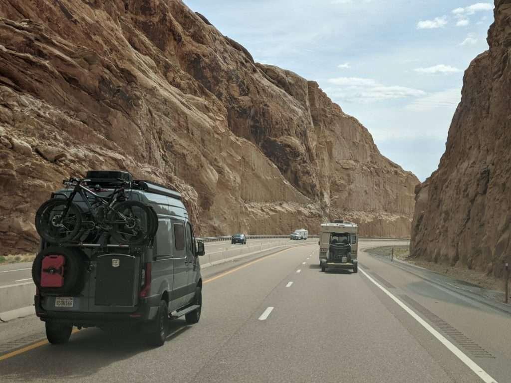 camper van on a highway