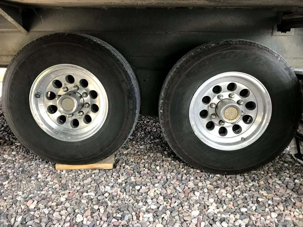 Close up on two RV tires.