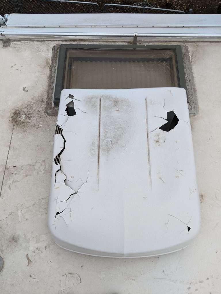 damaged RV air conditioner