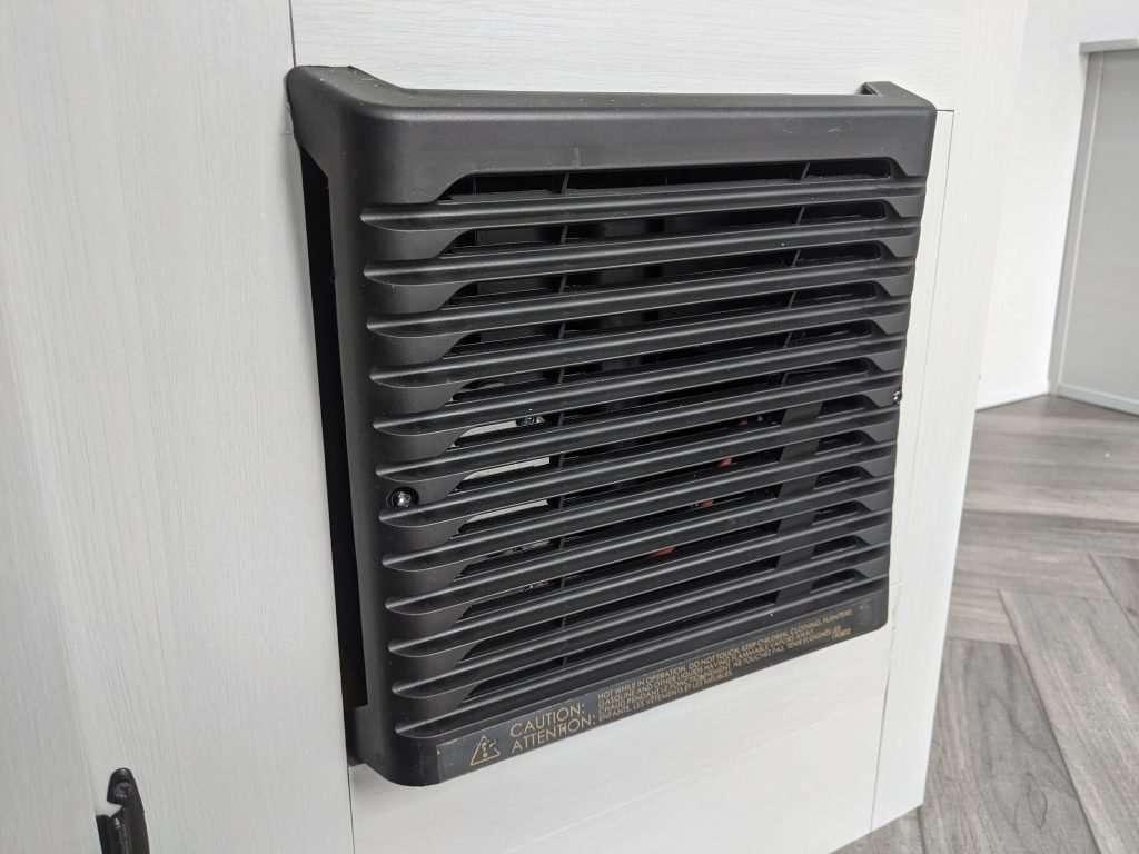 RV furnace vent in a travel trailer