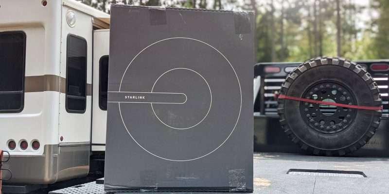 starlink dishy box with RV on truck