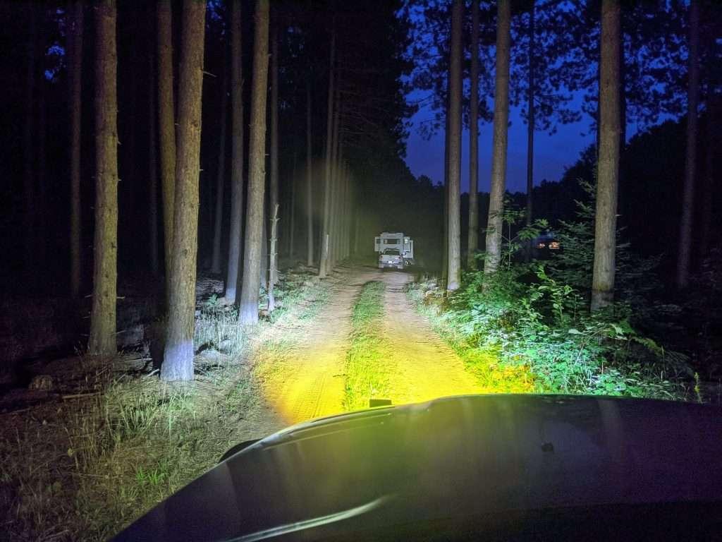 Yellow fog lights on road at night comparison