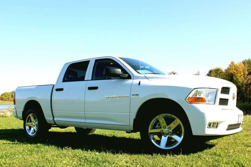 Close up of a white RAM 1500