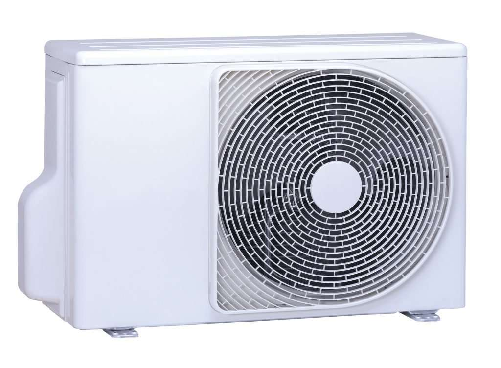 Product shot of an air heat pump system.