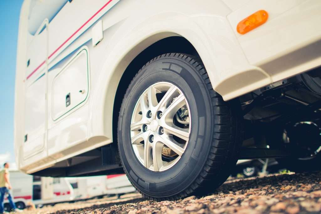 Close up of back tire on RV.