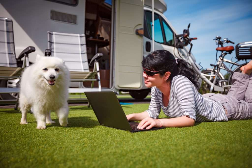 Woman on the grass with a dog looking at a laptop in front of RV.