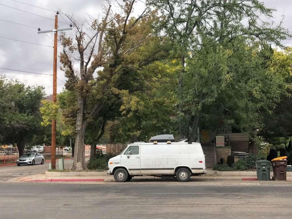 van parked along street