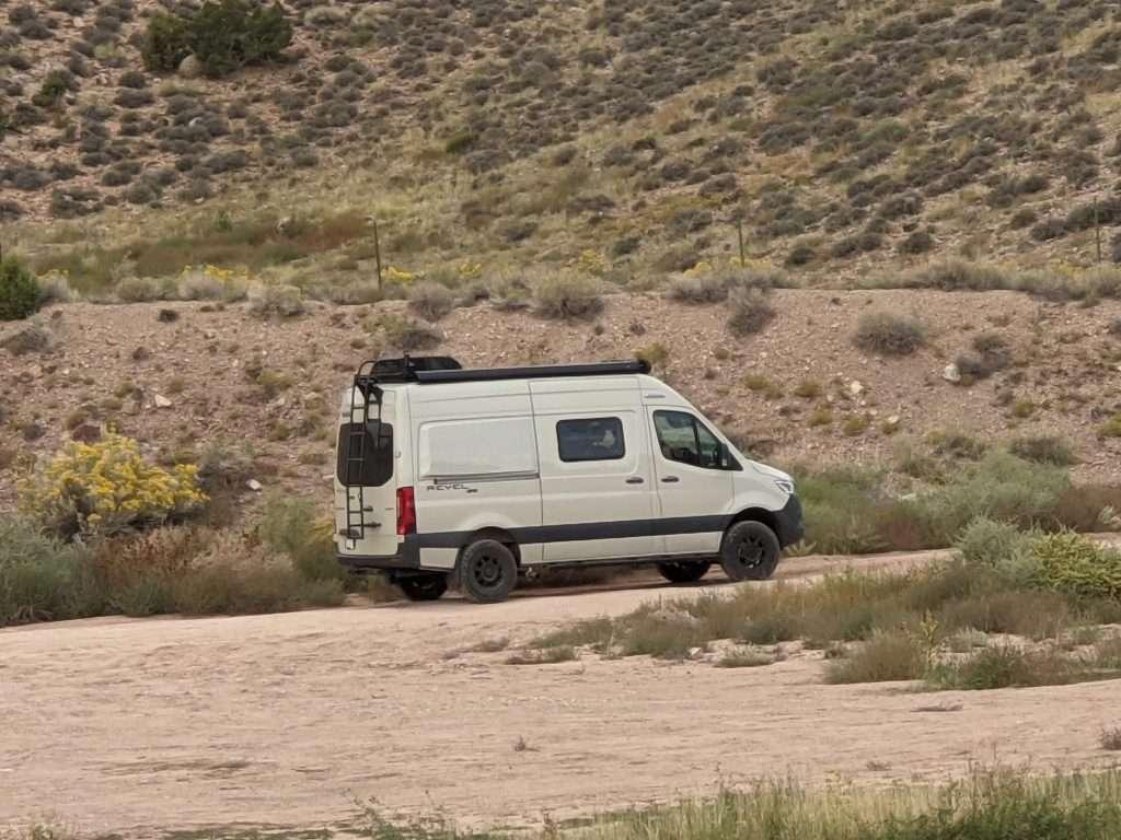 Camper van on dirt road