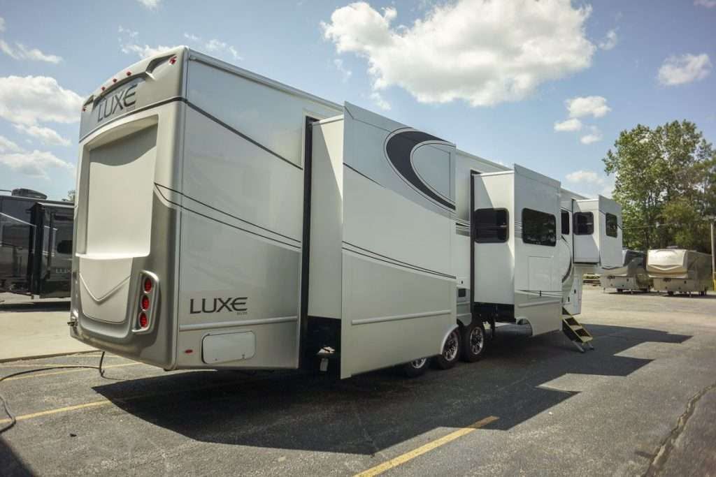 Exterior image of luxe fifth wheel RV.