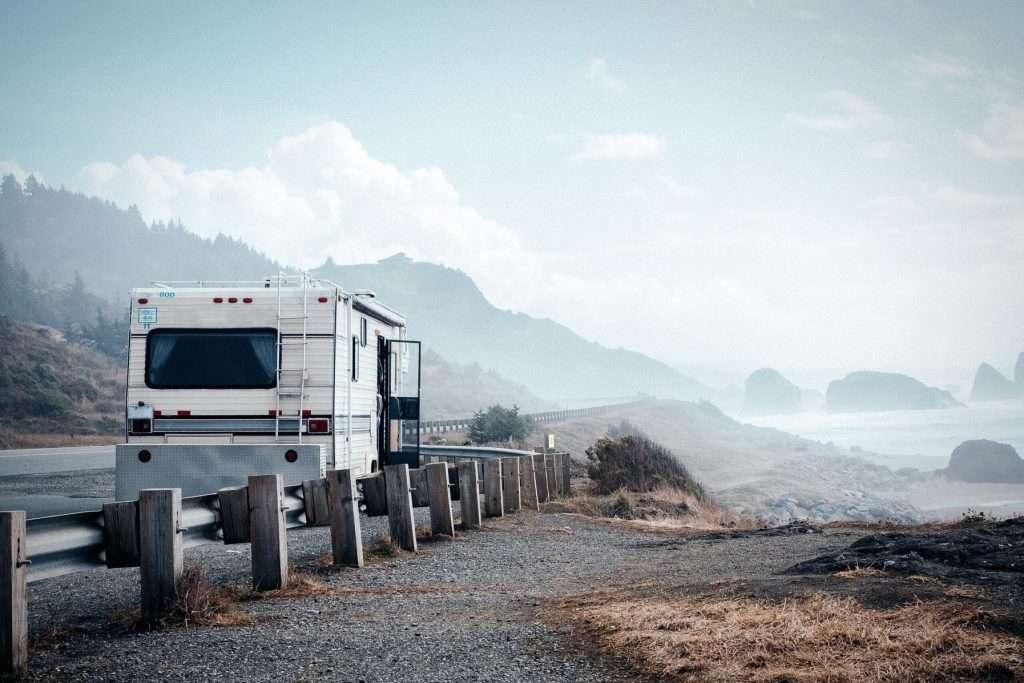 RV driving along the Oregon coast.