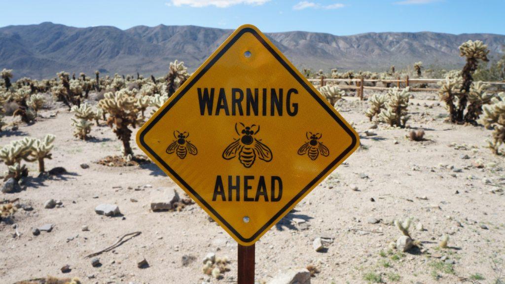 warning bees sign