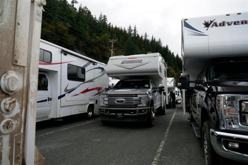 truck camper rv in line for alaska marine highway ferry