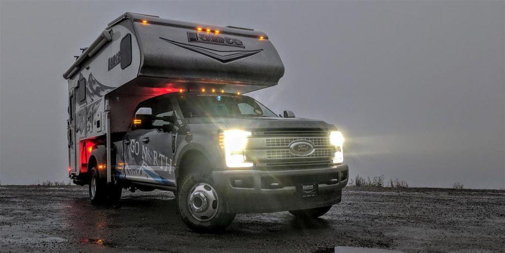 lance 1172 truck camper rv in fog