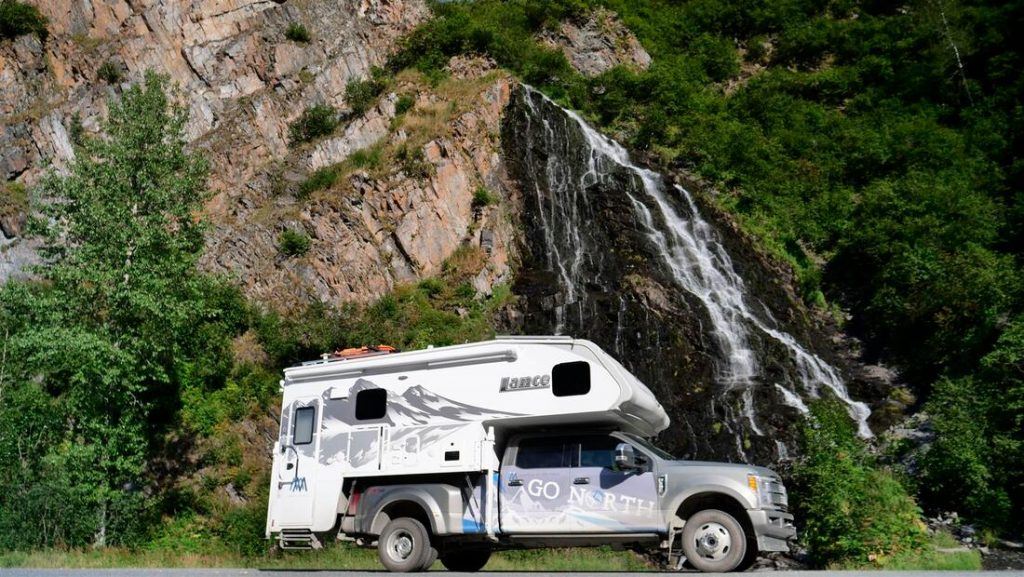 keystone canyon waterfall with go north truck camper
