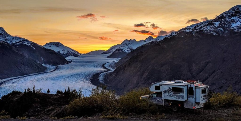 Expedition Truck camper along glacier